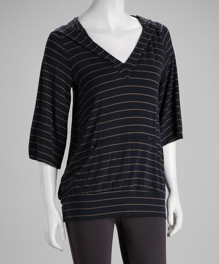 Navy & Gray Stripe Hoodie - Women & Plus