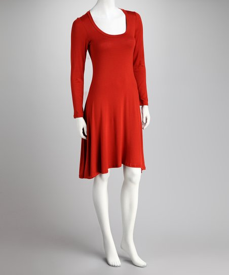 Rust Scoop Neck Dress - Women & Plus