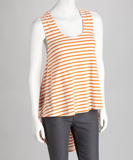 Orange & White Stripe Racerback Tank
