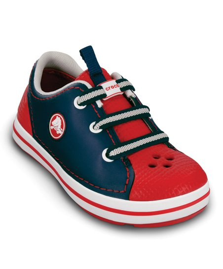 Navy & Red Crocband Sneaker - Kids