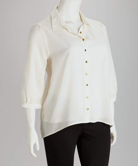 Vanilla Chiffon Hi-Low Button-Up - Plus