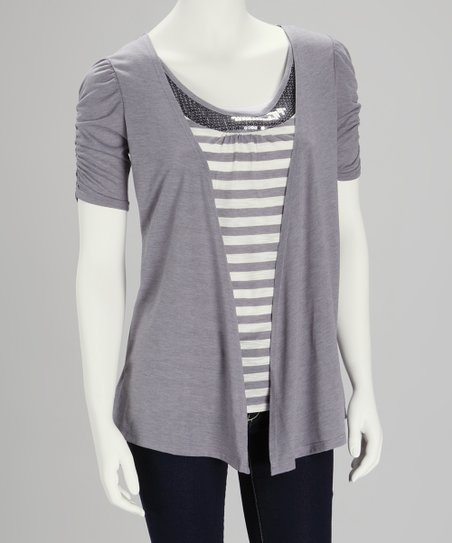 Charcoal Stripe Sequin Top