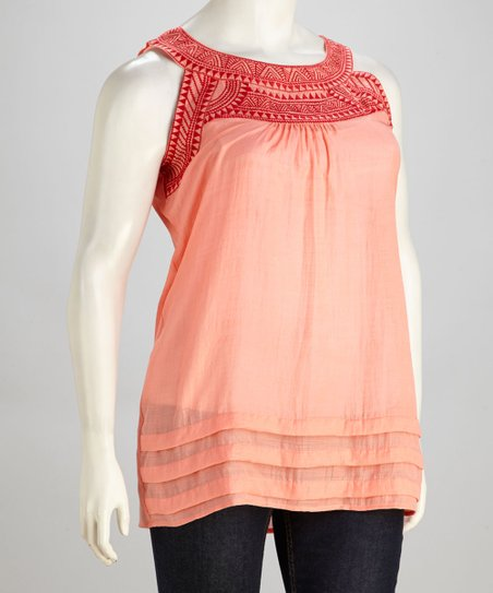 Light Coral Embroidered Yoke Tunic - Plus