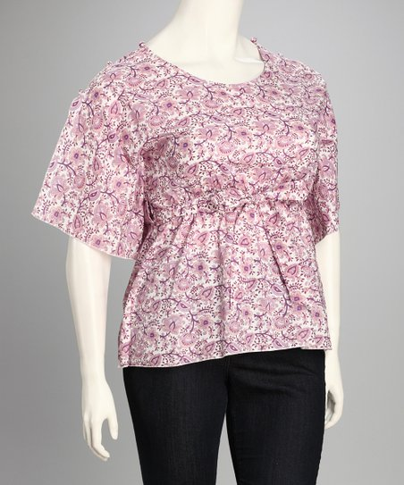Purple Floral Plus-Size Top