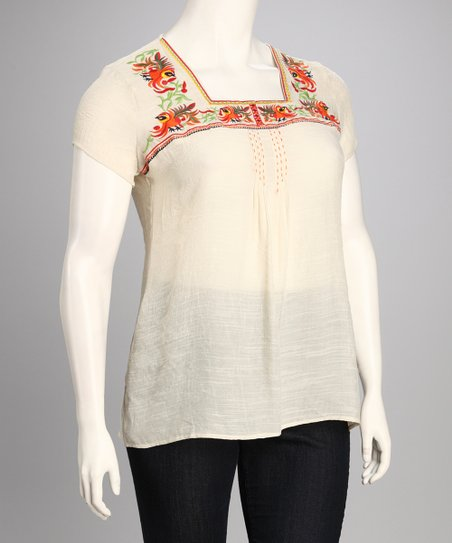 Cream Square Neck Plus-Size Top