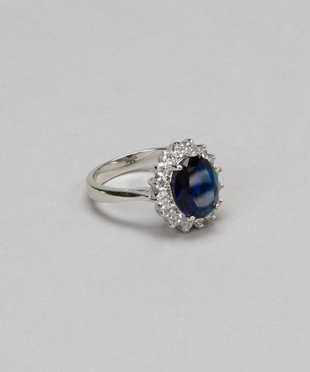 White Gold & Blue Petal Ring
