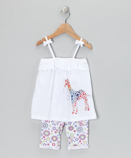 White & Orange Giraffe Tank & Pants - Infant & Toddler