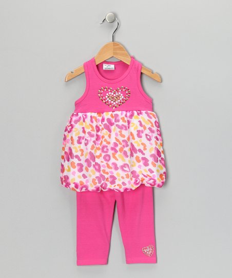 Pink Heart Dress & Leggings - Toddler & Girls