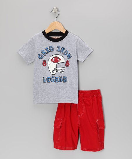Grey 'Grid Iron' Tee & Red Cargo Shorts - Infant, Toddler & Boys