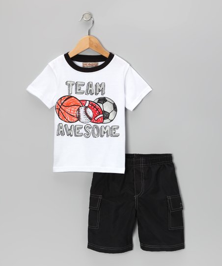 White 'Awesome' Tee & Gray Cargo Shorts - Infant, Toddler & Boys