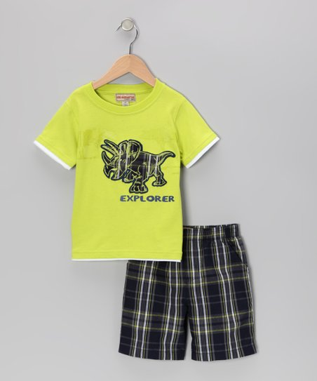 Lime 'Explorer' Tee & Plaid Shorts - Infant & Toddler
