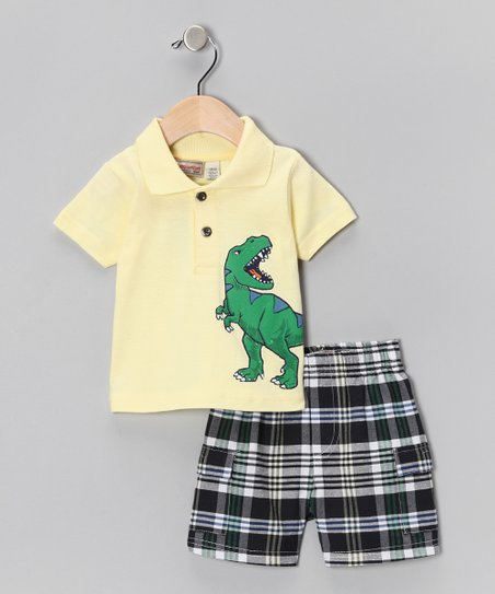 Cream Dinosaur Polo & Plaid Shorts - Boys