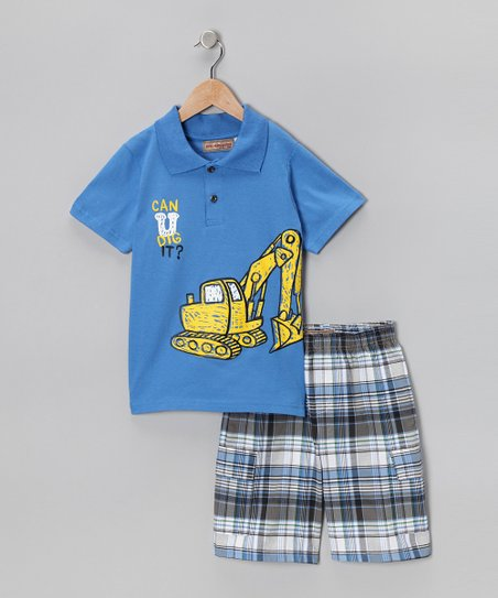 Blue Tractor Polo & Plaid Shorts - Infant & Boys