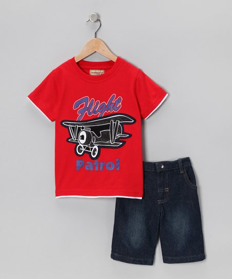 Red Biplane Tee &amp; Denim Shorts - Infant, Toddler &amp; Boys