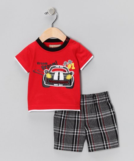 Red Sports Car Tee & Plaid Shorts - Infant & Toddler