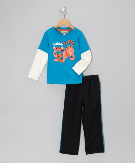 Blue 'Tiger Cub' Layered Tee & Track Pants - Infant & Toddler