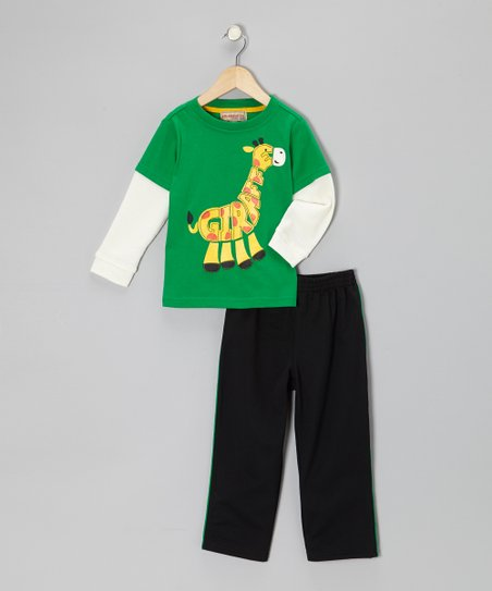 Green 'Giraffe' Layered Tee & Track Pants - Infant