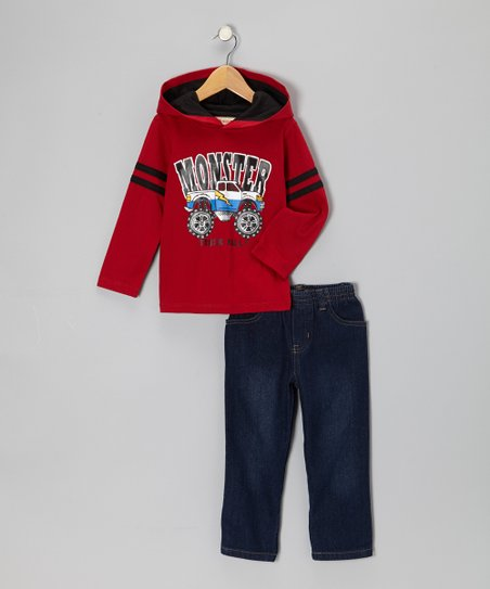 Red 'Monster' Truck Hooded Tee & Jeans - Infant, Toddler & Boys