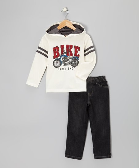 White 'Bike' Hooded Tee & Pants - Infant, Toddler & Boys