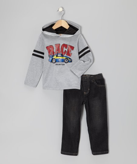 Gray 'Race' Hooded Tee & Black Jeans - Boys