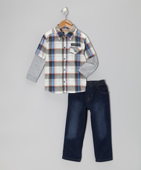 White Plaid Layered Button-Up & Jeans - Toddler & Boys