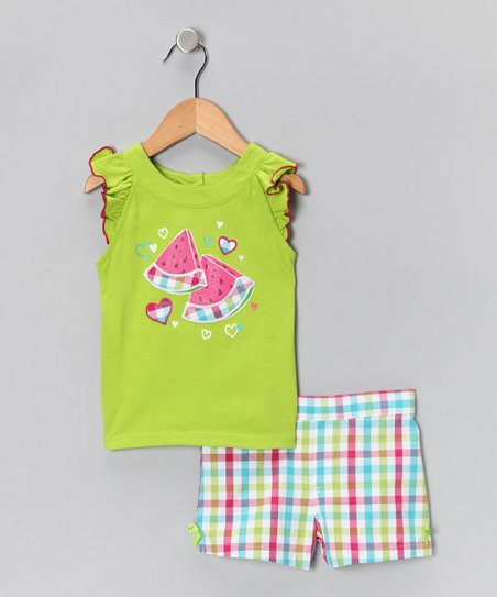 Lime Watermelon Tank & Plaid Shorts - Infant & Girls