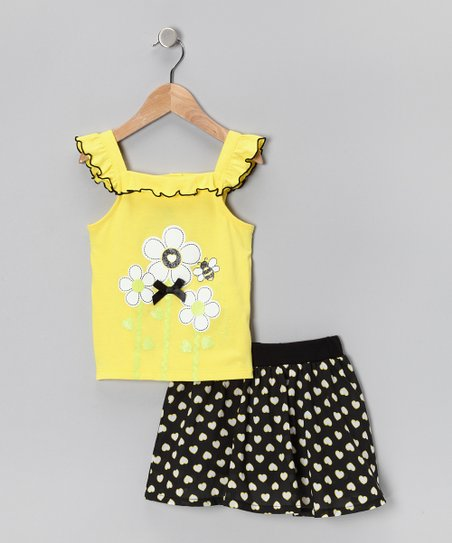 Yellow Flower Tank & Black Skort - Infant