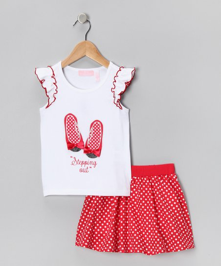 White Shoe Tank & Red Polka Dot Skirt - Infant, Toddler & Girls