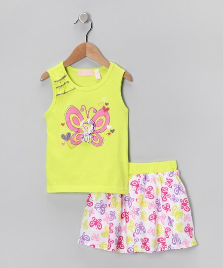 Lime & Pink Butterfly Tank & Skirt - Infant & Girls