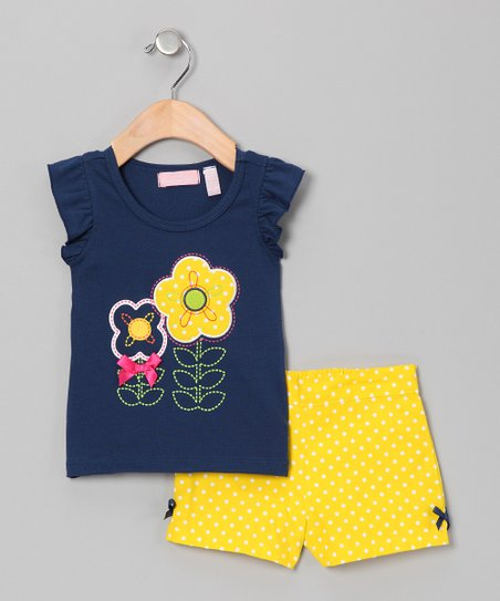 Navy Flower Top &amp; Yellow Shorts - Infant &amp; Toddler