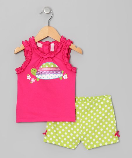 Pink Turtle Tank & Lime Polka Dot Shorts - Infant
