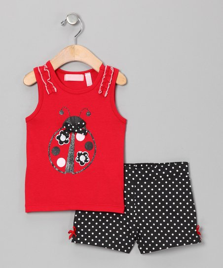 Red Ladybug Tank & Black Polka Dot Shorts - Infant
