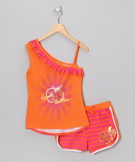 Calypso Coral Asymmetrical Top & Shorts - Infant
