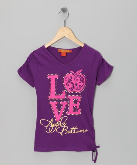 Purple Magic 'Love' Ruched Top - Girls
