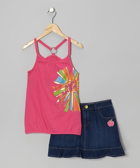 Fuchsia Racerback Tank & Ruffle Skort - Infant, Toddler & Girls