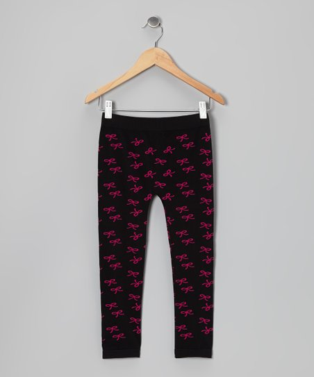 Black & Fuchsia Bow Leggings