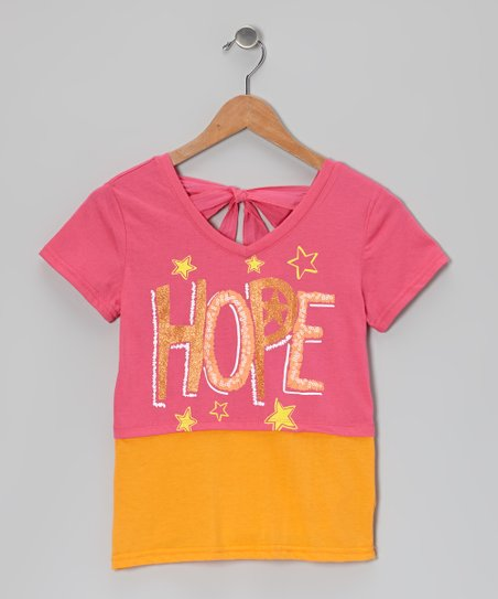 Pink & Orange 'Hope' Tie-Back Layered Top - Girls