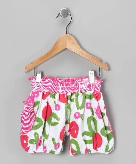 White Brush Rose Bubble Shorts - Infant
