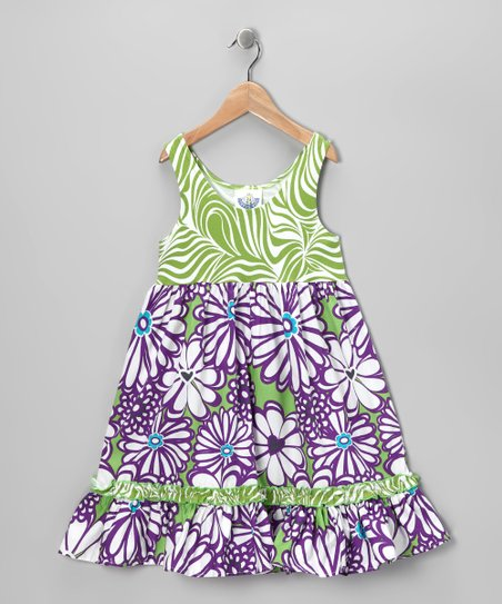Green & Purple Mummy Ruffle Babydoll Dress - Toddler & Girls