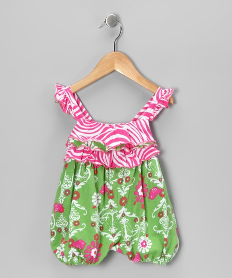 Green Chandelier Ruffle Bubble Romper - Infant