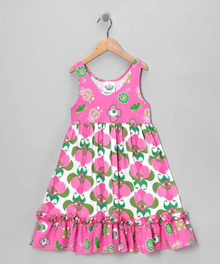 Pink Mod Flower Ruffle Babydoll Dress - Toddler & Girls