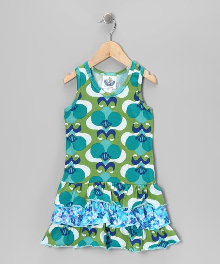 Green Mod Flower Drop-Waist Dress - Infant, Toddler & Girls