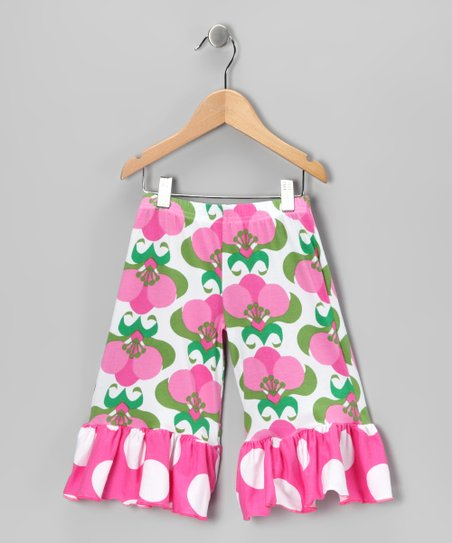Pink Mod Flower Wide-Leg Ruffle Pants - Girls