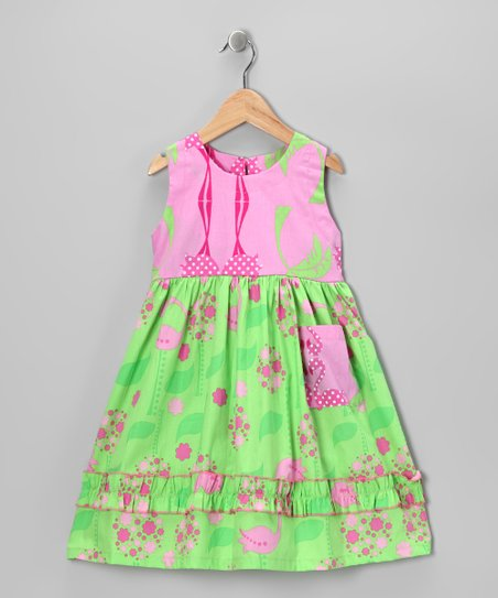Lime Flamingo Lingo Babydoll Dress - Toddler & Girls