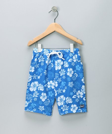 Blue & White Boardshorts - Boys