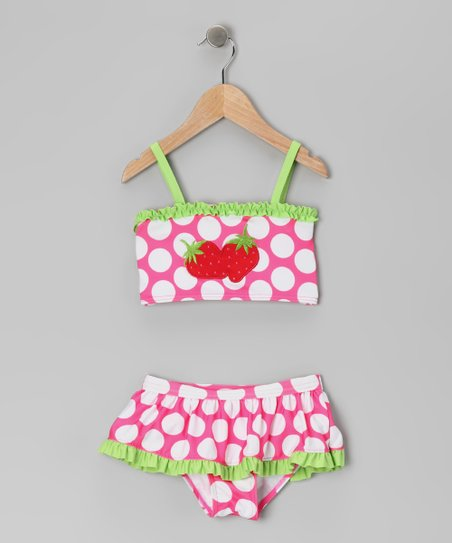 Pink & Lime Polka Dot Strawberry Skirted Bikini - Toddler & Girls