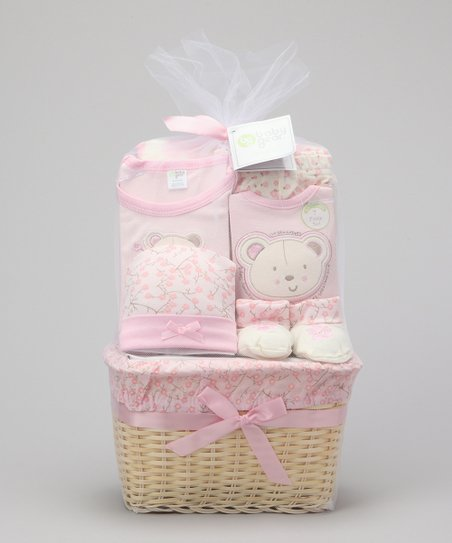 Pink I'm the Sweetest Bear 7-Piece Basket Set