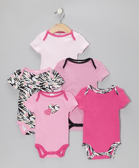 Pink Zebra Heart Watch-Me-Grow Bodysuit Set - Infant