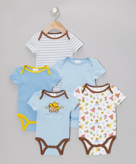 Blue 'Most Wanted' Watch-Me-Grow Bodysuit Set