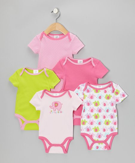 Pink 'Little Girl' Watch-Me-Grow Bodysuit Set - Infant